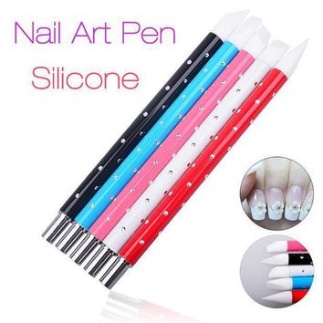 5 Pcs Nail Art Pen Brushes Soft Silicone Carving Craft Supplies Pottery Sculpture Uv Gel Building Clay Pencil Diy Tools 2016 New