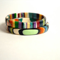 resin bangle Multi color vertical striped orange and turquoise resin bangle. Stacking bangle bracelet. Handmade resin bangle bracelet.