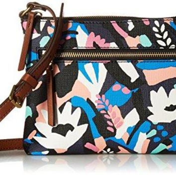 Fossil Fiona Small Crossbody Bag, Black Floral,One Size