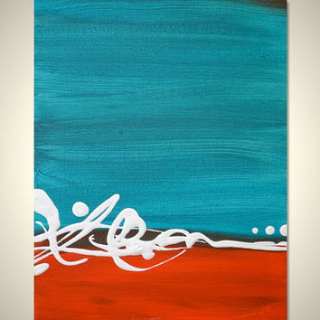 Small Original Abstract Acrylic Modern Canvas Painting - RED and TURQUOISE - Freedom: Mini 8 x 10