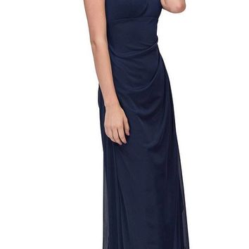 Beaded Long Formal Dress Ruched Back Navy Blue