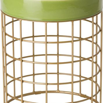 Cooper Metal Stool/Table Powdercoated Gold With A Apple Green Ceramic Top