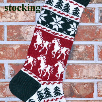 Personalized Knit Christmas Stocking, 100% Wool - Horses & Snowflakes