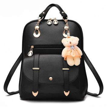 School Backpack trendy TAKEM 2018 Small Backpack Women PU Leather Lady Shoulder Bags Cute Bear Belt Girls School Bag Travels Backpack Hand Bag AT_54_4