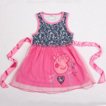 DCCKIX3 baby girl dress peppa pig  cotton sleeveless lace girl dress with  waistband = 1930007300