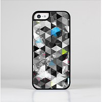 The Modern Black & White Abstract Tiled Design with Blue Accents Skin-Sert Case for the Apple iPhone 5c