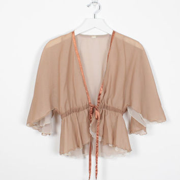Vintage 70s Jacket Sheer Tan Beige Brown Ribbon Tie Cape 1970s Bolero Jacket Crop Jacket Boudoir Capelet Lingerie Hippie Top S M Medium L