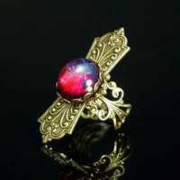 Steampunk Jewelry - Ring - Fire Opal Victorian Shield Ring
