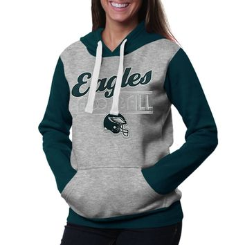 Philadelphia Eagles Ladies Divisional Pullover Hoodie - Gray/Midnight Green