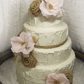 Shop Burlap And Lace Cake Topper on Wanelo