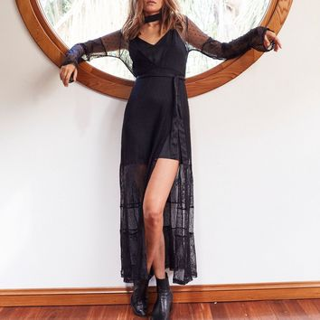 somedays lovin - starry eyed maxi dress - black