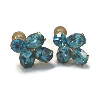 1950s Earrings, Vintage Signed Coro Blue Faux Aquamarine Screw Back Earrings