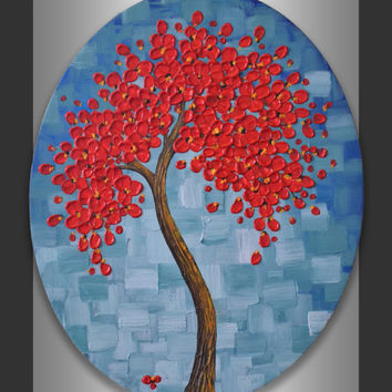 "Textured Red Cherry Blossom Tree Painting 16x20"" Oval Canvas Abstract Blue Green Landscape Original Contemporary Art Modern Home Decor"