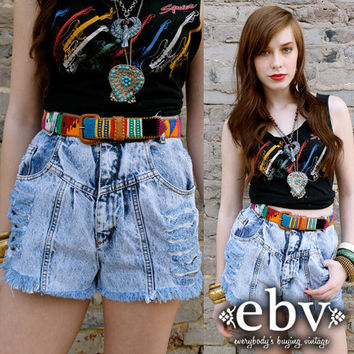 Vintage 80s Acid Wash High Waisted Shredded Jean Shorts XS S