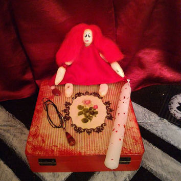 Free Shipping***Handmade Gift Set Gothic Decoupage BOX OOAK Doll Odd Spirit Angel Magic Amulet Red Jasper Stone Decorative Candle Witchcraft