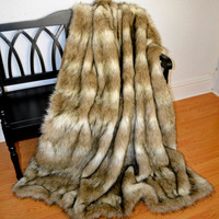 Faux Fur Throw Blanket, Sandy Wolf Faux Fur, Fur Bedding, Blanket Throw, Ready to Ship!