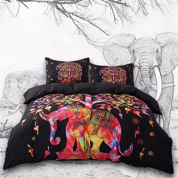 5pcs Bed in a Bag Colored Elephant Bedding Set Tree Pattern Bohemia Bedspread Black Bed Cover! High Quality! Limited EDITION!!