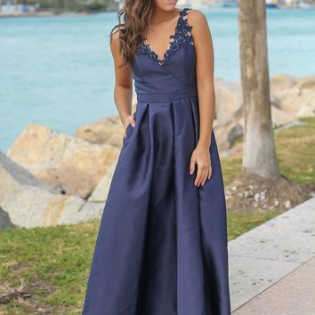 Navy Maxi Dress with Embroidered Detail