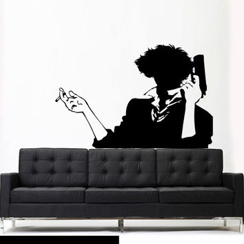 Wall Vinyl Decor Art Sticker Decals Mural Anime Manga   cowboy bebop silhouette spike spiegel simple fresh (z2627)