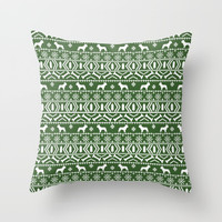 Boston Terrier fair isle dog pattern silhouette christmas sweater green and white Throw Pillow by Pet Silhouettes
