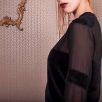 Sheer Black Velvet Blouse, See through and velvet blouse