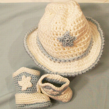 Baby Boys Crochet Cowboy Gift Set, Western Cowboy, Boots in White with Blue, Baby Boy gift, Baby Shower Gift, Made in the USA, #178