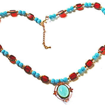 Beadednecklace features round Turquoise and rectangular Ruby Red beads, matching double sided pendant, lovely gift for her, perfect gem hues