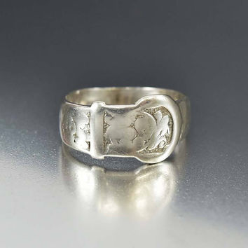 English Antique Victorian Sterling Silver Buckle Ring