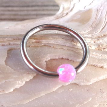 Septum Upper Ear Daith Rook,Tragus,Cartilage,Hoop Earring,Nose Ring,Eyebrow Ring BCR Captive Pink Fire Opal Bead Body Jewelry 316L Surgical Steel Diameter:10mm,Gauge 16 (1.2mm)