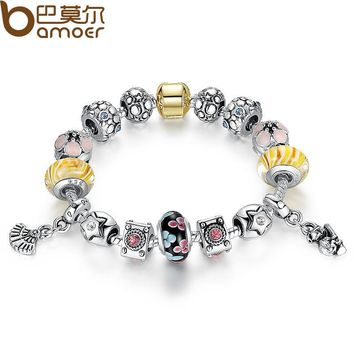 Silver Original Style Bracelet for Women With Exquisite Flower Glass Bead Strand Pulseira Luxury Bijoux PA1837