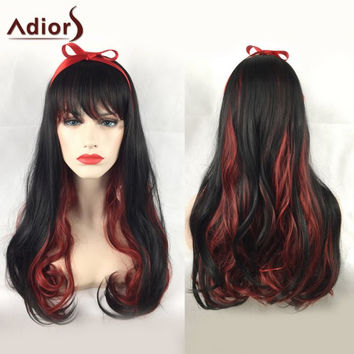 Long Side Bang Double Color Wavy Adiors Party Synthetic Wig
