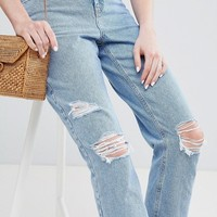 New Look Ripped Mom Jeans at asos.com