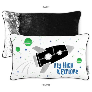 FLY HIGH & EXPLORE  Mermaid Pillow with Black & Silver Reversible Sequins