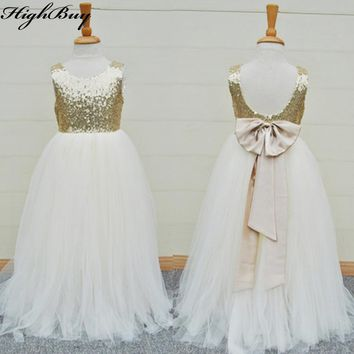 HighBuy New Gold Sequins Flower Girls Dress Baby Infant Toddler Kids Dresses Junior Floor-Length For Wedding Pageant Tulle Gowns