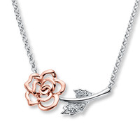 Rose Necklace Diamond Accents Sterling Silver/10K Gold