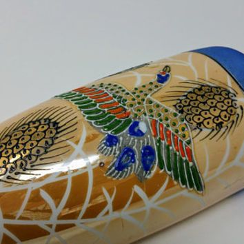 Vintage Hand Painted Luster ware Japanese Satsuma Bird Moriage Wall Pocket Vase Hotta Yu Shoten & Co.
