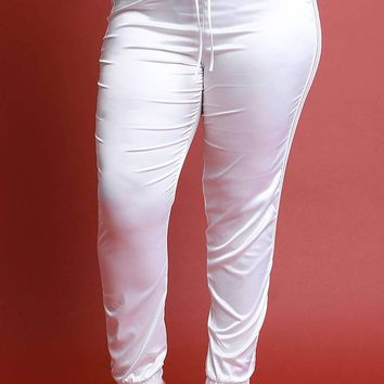 Elastic Striped Satin High Waisted Jogger Pants