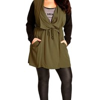 Plus Size Women's City Chic 'Long Weekend' Jacket with Contrast Sleeves,