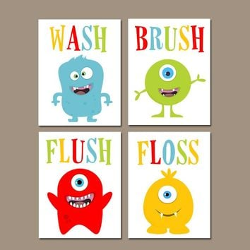 MONSTER Bathroom Wall Art, MONSTER Bath Decor, Kid Bath Wall Decor, MONSTER Theme Decor, Wash Brush Flush Floss, Canvas or Prints Set of 4