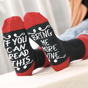 Women Men Unisex Adult If You Can Letter Print Cute Knit Mid Long Socks