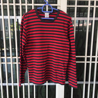 agnes b long sleeve t-shirt stripe red & black colours small size