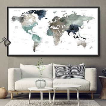 World map watercolor wall art, map poster, map art print, office decor, home wall decor, map painting, apartment wall art, modern print -L164