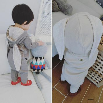 Baby Toddlers Rompers Clothes Cotton Rabbit Ears Hooded Suits Infant Jumpsuit Outwear Baby Boys Girls Jumpsuit Clothing Costumes