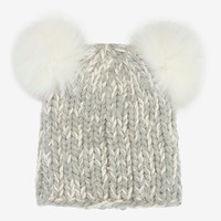 Eugenia Kim Mimi Double Fur Pom Knit Hat: Grey at INTERMIX | Shop Now | Shop IntermixOnline.com