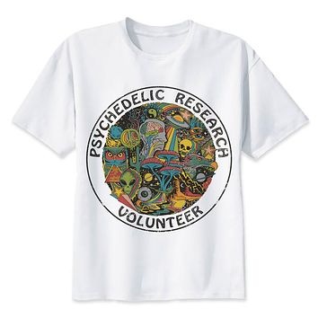 Psychedelic Research Volunteer T-Shirt men Slim Funky colourful Print t shirt male Vintage Tshirt funny top tees