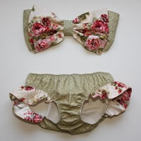 polka dot and floral bow bandeau set - Made to order