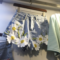 Flower Light Blue Womens Denim Shors