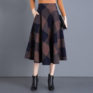 2017 Fashion Women Vintage Woolen Plaid Skirts Autumn Winter Casual Warm High Waist Midi Pleated Skirt Office Faldas Mujer Saias