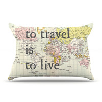 "Catherine Holcombe ""To Travel Is To Live"" Color Map King Pillow Case - Outlet Item"
