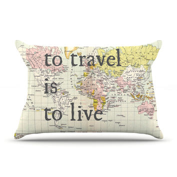 """Catherine Holcombe """"To Travel Is To Live"""" Color Map King Pillow Case - Outlet Item"""
